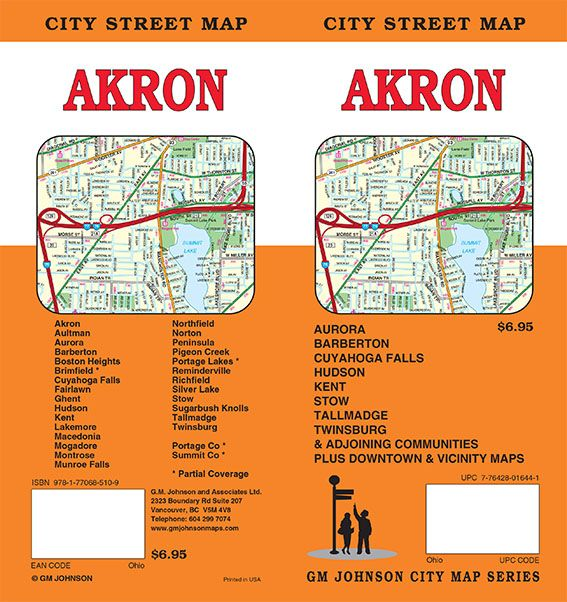 Silver Falls Ohio Map.Akron Summit County Ohio Street Map Gm Johnson Maps