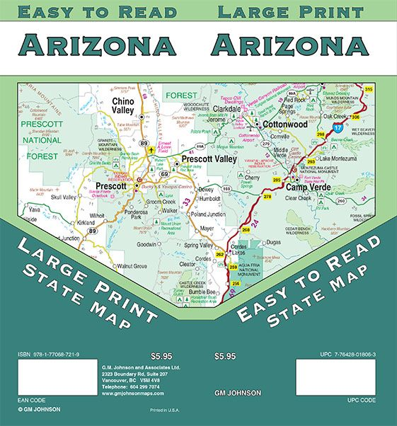 A Map Of Arizona State.Arizona Large Print Arizona