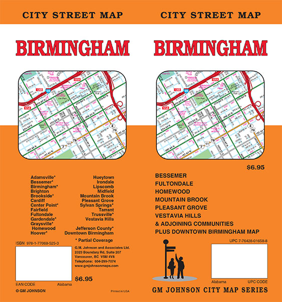 Birmingham Alabama Street Map GM Johnson Maps