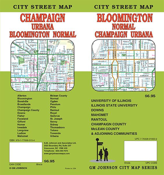 Bloomington Champaign Urbana Illinois Street Map Gm Johnson Maps