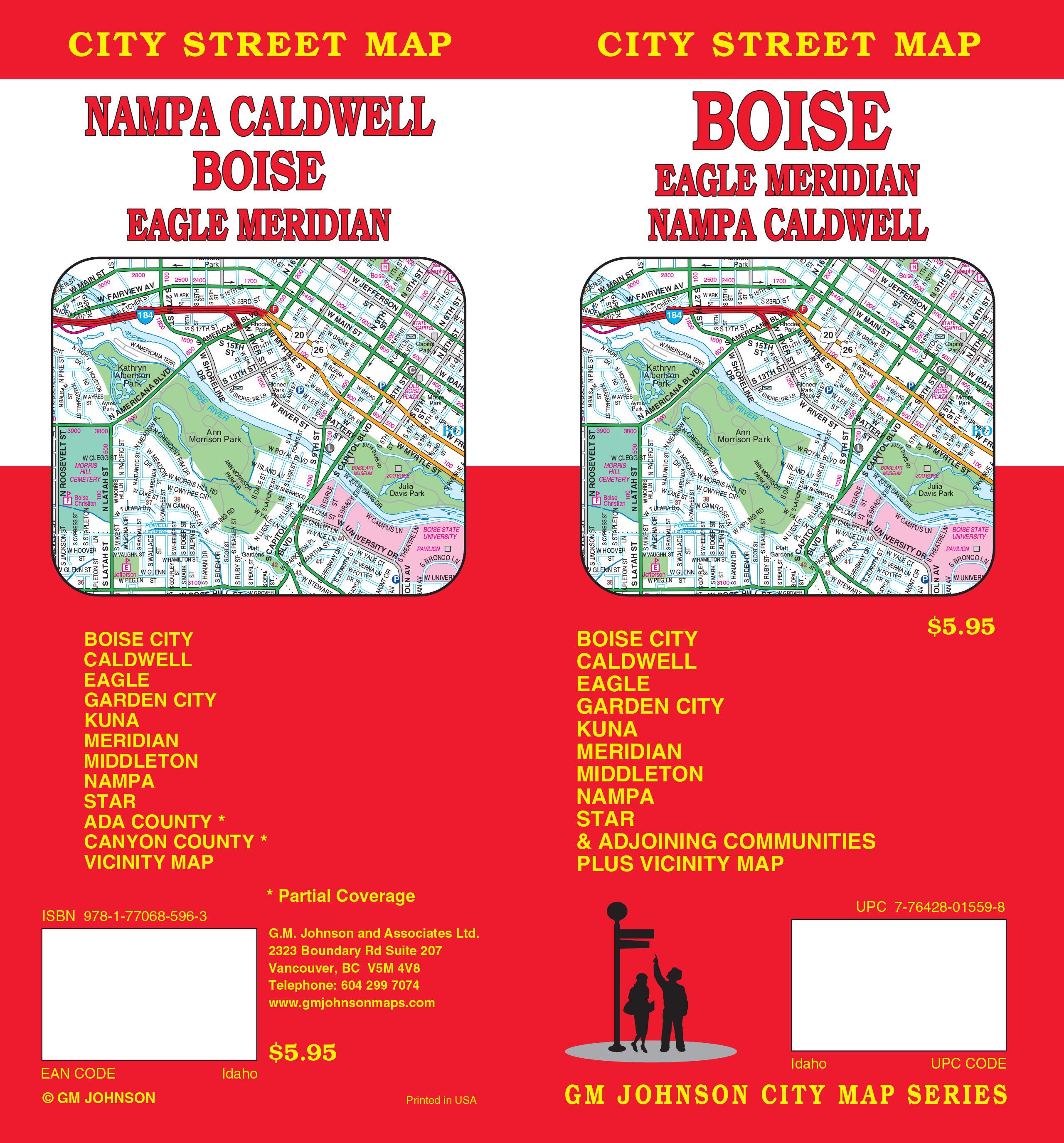 Boise / Caldwell / Nampa / Meridian, Idaho Street Map - GM Johnson Maps