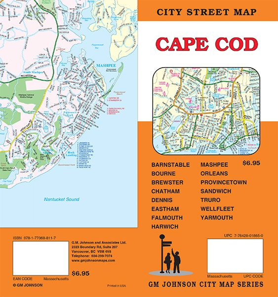 Cape Cod, Machusetts Street Map - GM Johnson Maps Cape Cod Map on