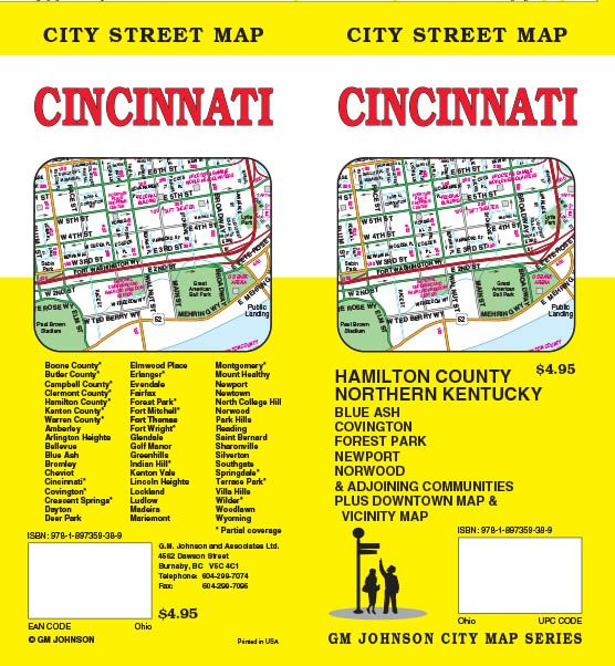 Ohio Maps Catalogue - GM Johnson Maps Cincinnati Ohio Map Usa on