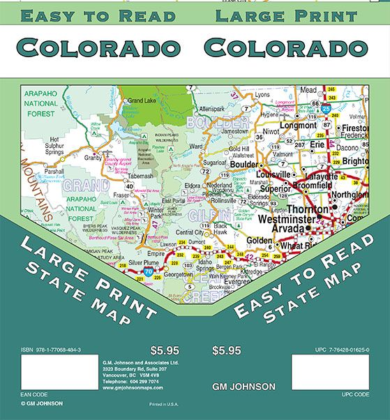 Colorado Large Print Colorado State Map Gm Johnson Maps