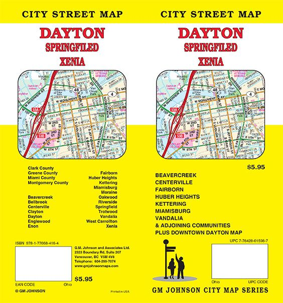 Dayton Springfield Xenia Ohio Street Map GM Johnson Maps