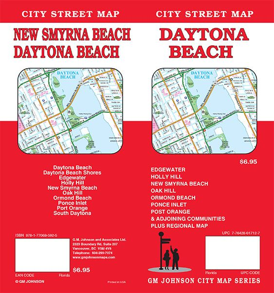 Map Of Florida Showing Daytona Beach.Daytona Beach Florida Street Map Gm Johnson Maps