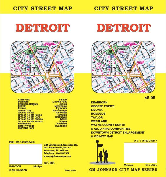 Detroit, Michigan Street Map - GM Johnson Maps
