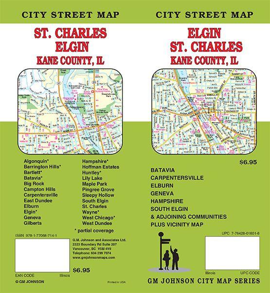 Hampshire Illinois Map.Elgin St Charles Kane County Illinois Street Map Gm Johnson Maps