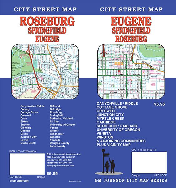 Eugene Springfield Roseburg Oregon Street Map GM Johnson Maps