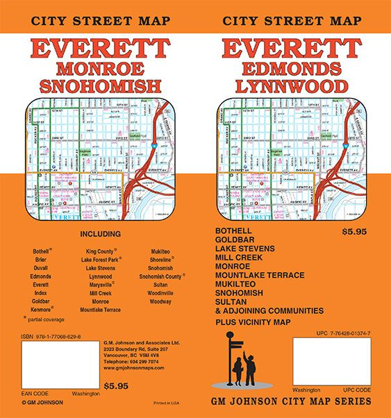 Lake Stevens Washington Map.Everett Edmonds Lynnwood Washington Street Map Gm Johnson Maps