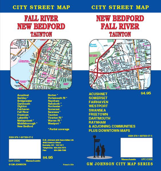 Fall River New Bedford Taunton Massachusetts Street Map GM