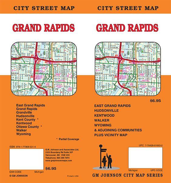 Grand Rapids Michigan Street Map Gm Johnson Maps
