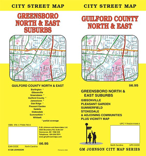 Guilford County / Greensboro North U0026 East Suburbs, North Carolina Street Map