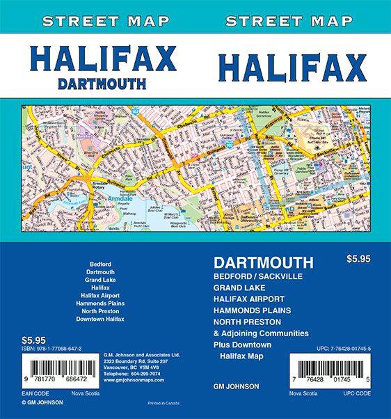 Halifax / Dartmouth, Nova Scotia Street Map - GM Johnson Maps on