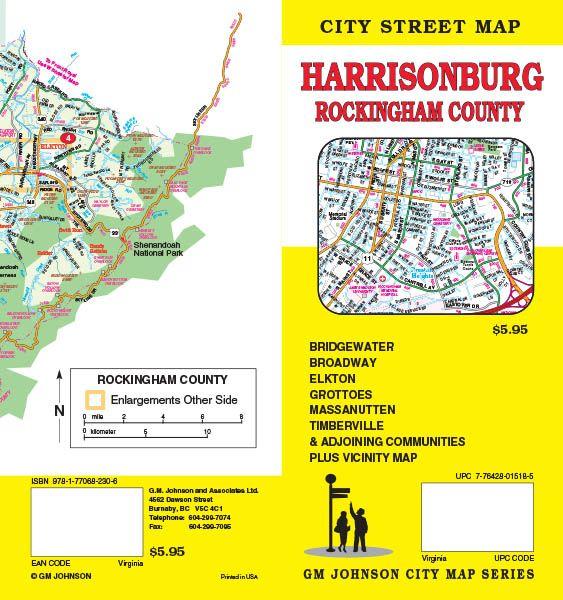 Harrisonburg Rockingham County Virginia Street Map Gm Johnson Maps