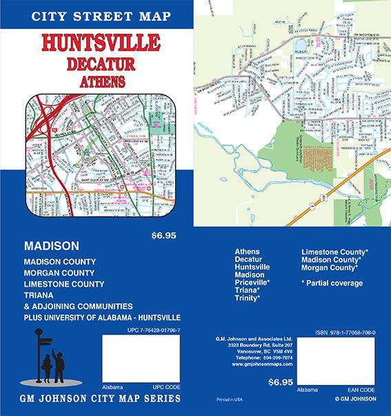 Huntsville / Decatur / Athens, Alabama Street Map - GM Johnson Maps