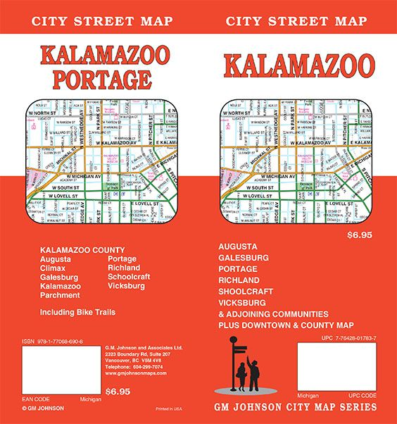 Kalamazoo, Michigan Street Map   GM Johnson Maps