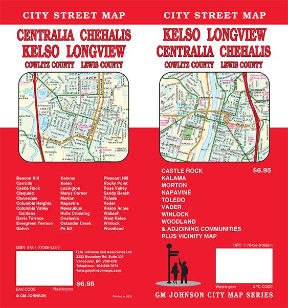 Kelso Longview Centralia Chehalis Washington Street Map Gm