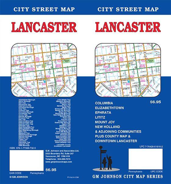 Lancaster Lancaster County Pennsylvania Street Map GM Johnson Maps