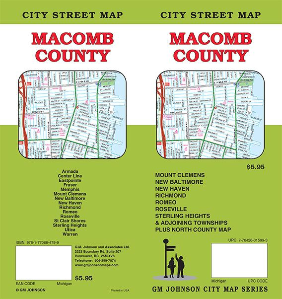 Macomb County Michigan Street Map Gm Johnson Maps