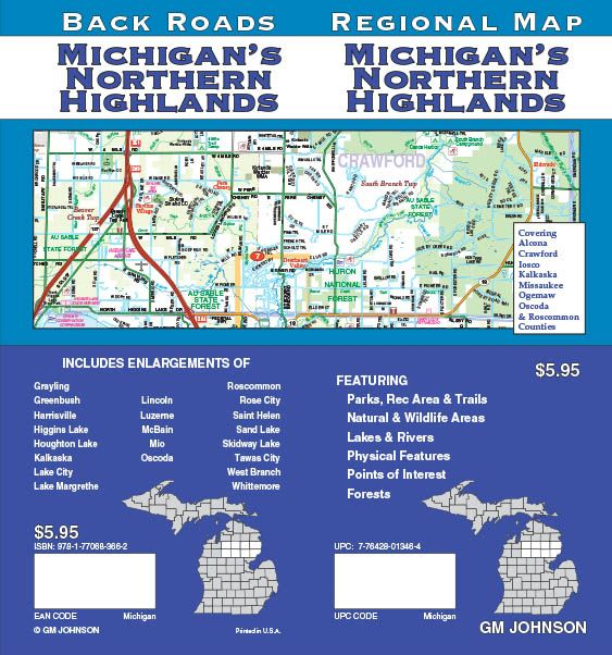 Michigan Northern Highlands Michigan Regional Map Gm Johnson Maps