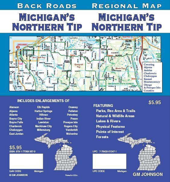 Michigan Northern Tip Michigan Regional Map Gm Johnson Maps