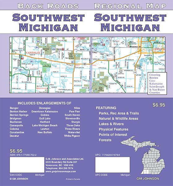 Buchanan Michigan Map.Michigan Southwest Michigan Regional Map Gm Johnson Maps