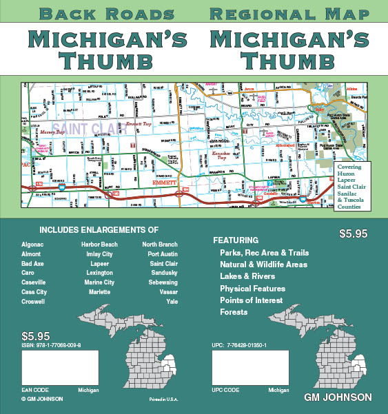 Michigan Thumb Michigan Regional Map Gm Johnson Maps