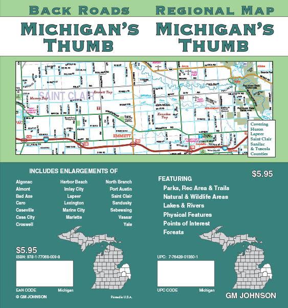 Michigan  Thumb Michigan Regional Map  GM Johnson Maps