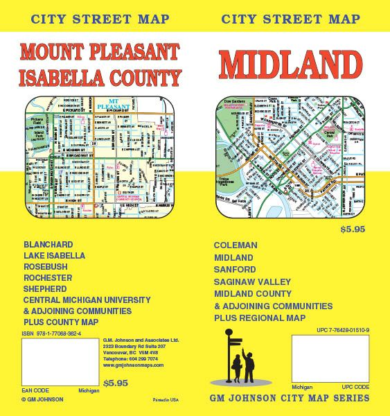 Coleman Michigan Map.Midland Mt Pleasant Michigan Street Map Gm Johnson Maps