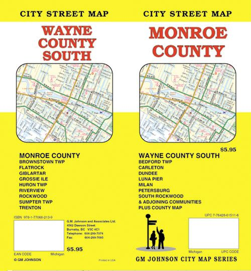 Monroe / South Wayne County, Michigan Street Map   GM Johnson Maps