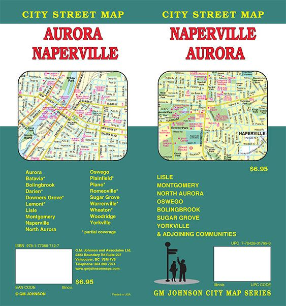 Naperville Aurora Illinois Street Map GM Johnson Maps
