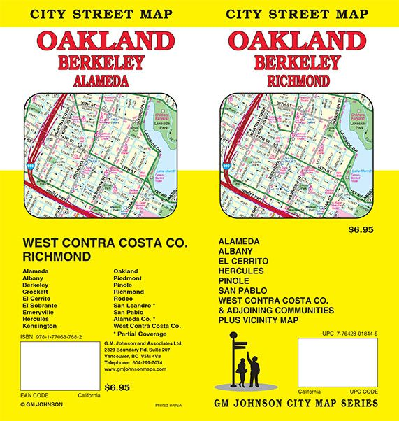 City map Oakland Berkeley California