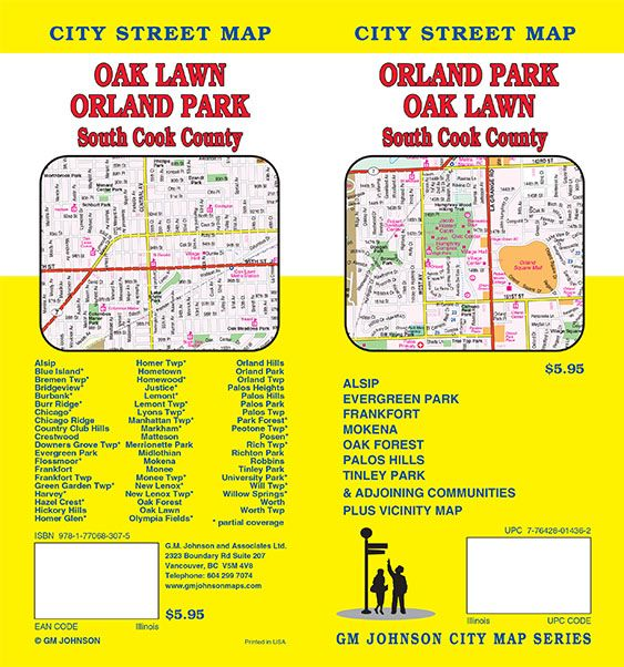Suburban Chicago Map.Orland Park Cook County South Suburban Illinois Street Map Gm