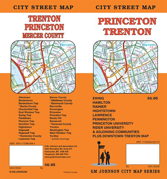 Princeton / Trenton, New Jersey Street Map - GM Johnson Maps on
