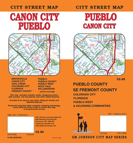Pueblo Canon City Colorado Street Map Gm Johnson Maps
