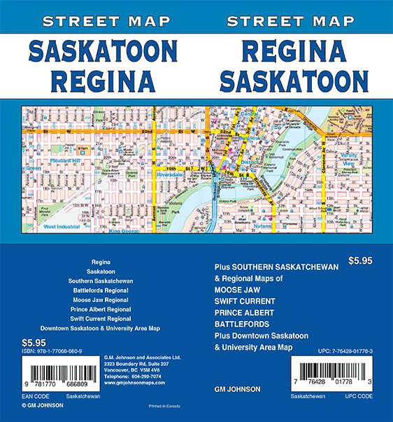 Regina Saskatoon Saskatchewan Street Map GM Johnson Maps