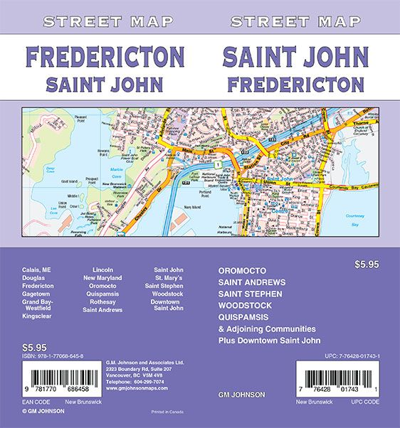 Saint John Fredericton St Stephen New Brunswick Street Map