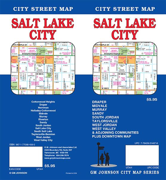 Salt Lake City, Utah Street Map - GM Johnson Maps