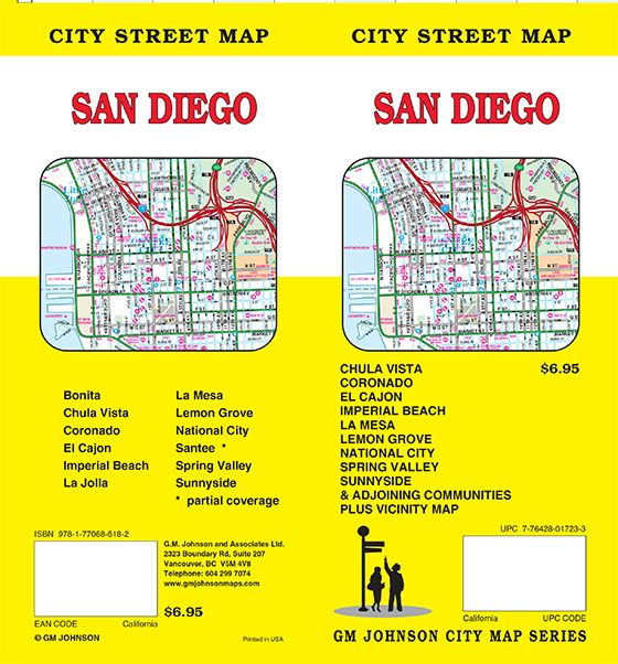 San Diego, California Street Map - GM Johnson Maps