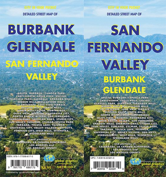 San Fernando Valley Glendale Burbank California Street Map GM