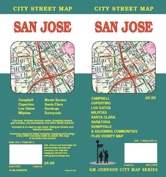 San Jose, California Street Map - GM Johnson Maps