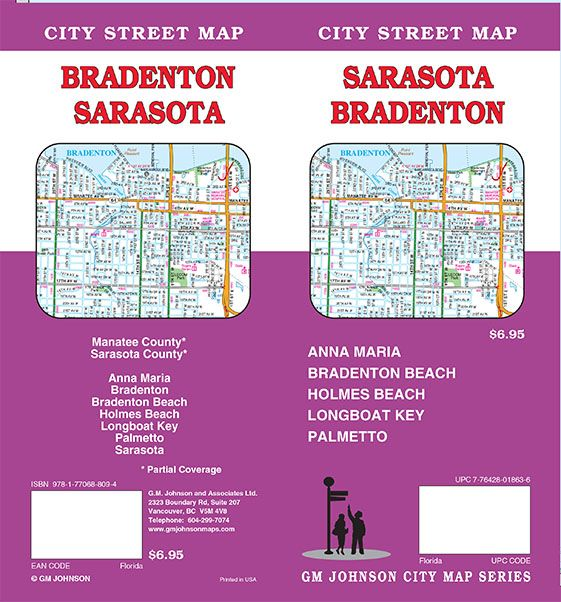 Bradenton Florida Map.Sarasota Bradenton Florida Street Map Gm Johnson Maps