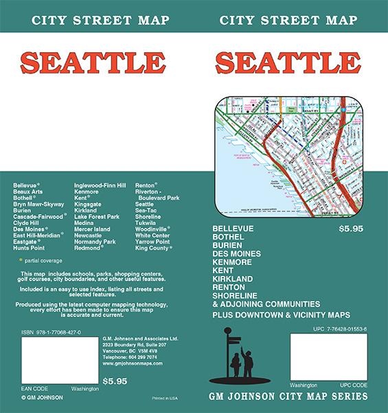 Seattle Washington Street Map GM Johnson Maps