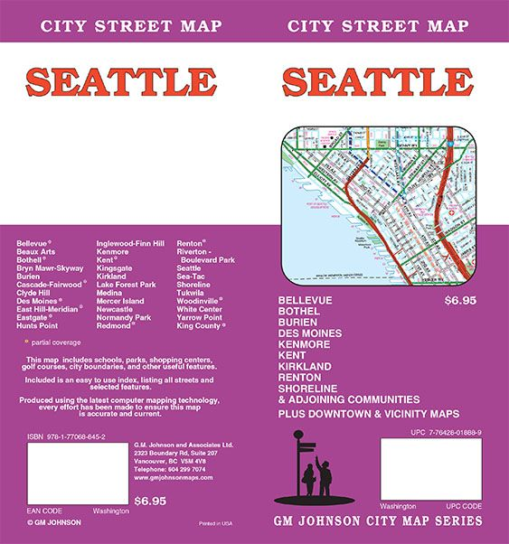 Medina Washington Map.Seattle Washington Street Map Gm Johnson Maps