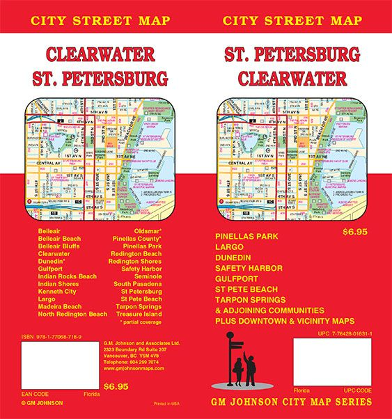 St Petersburg Clearwater Florida Street Map GM Johnson Maps