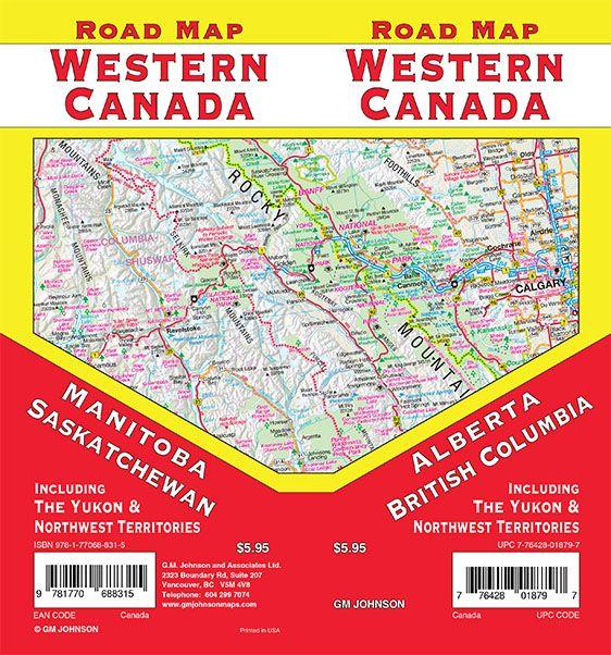Western Canada Canada Road Map Gm Johnson Maps