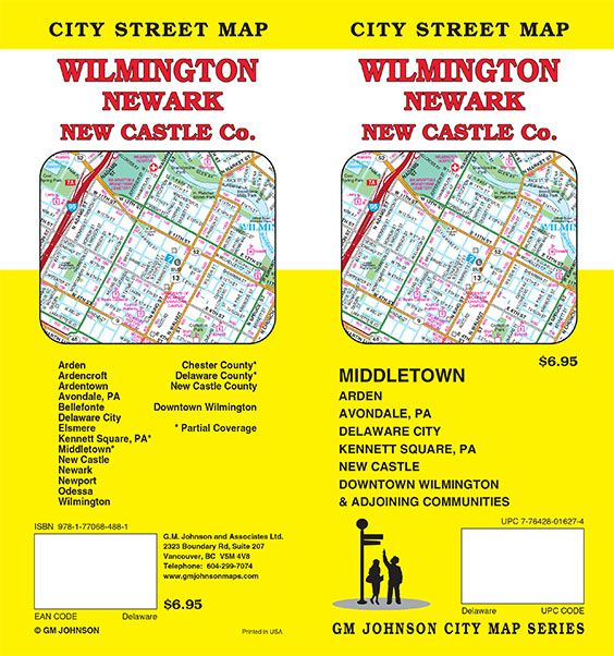 Wilmington Newark New Castle County Delaware Street Map GM