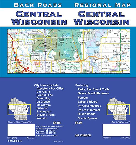Fond Du Lac Zip Code Map.Wisconsin Central Wisconsin Regional Map Gm Johnson Maps