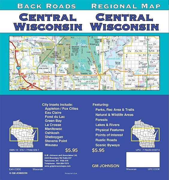 Wisconsin Central, Wisconsin Regional Map - GM Johnson Maps on